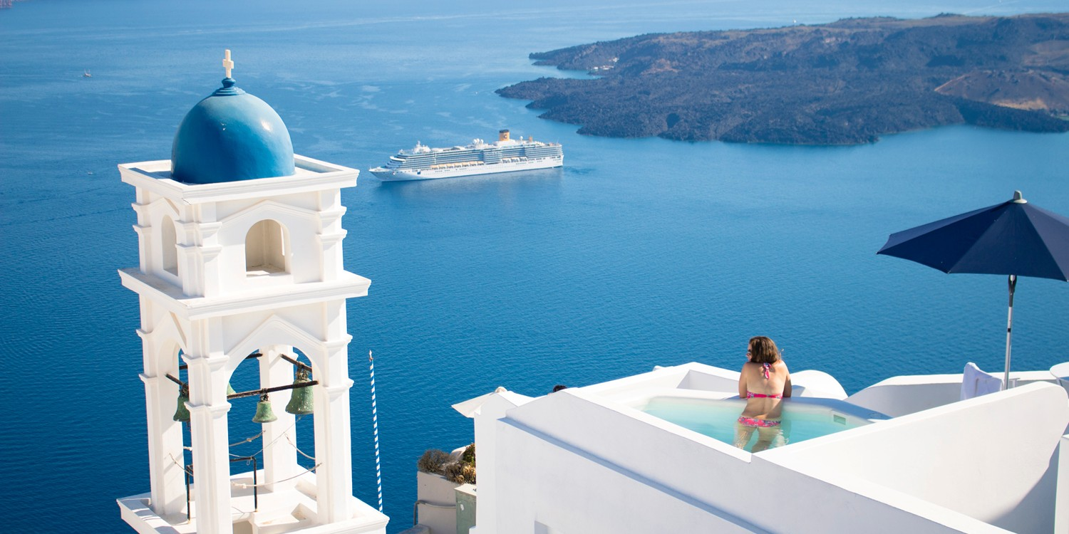 Travel Packages to Santorini Greece from Chicago's Best Travel Agency - Sunset Travel & Cruise, W Fullerton Ave 60614